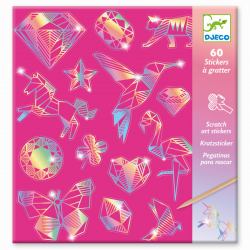 60 Kratzbild-Sticker -...